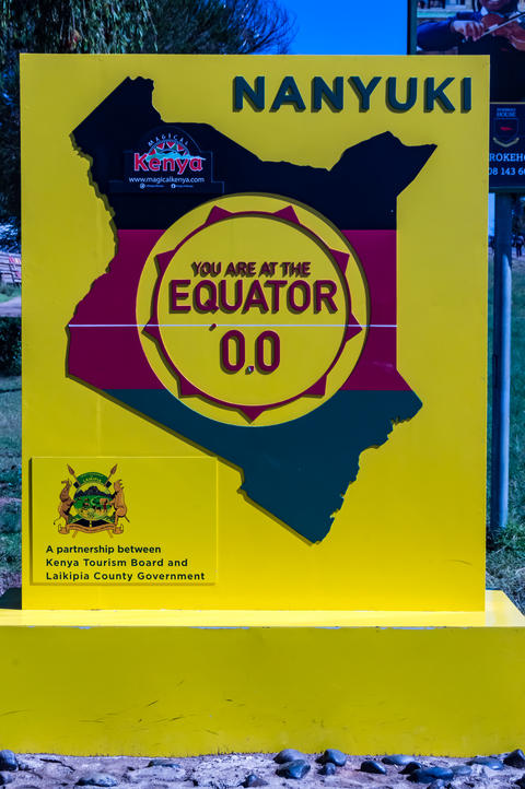 Equator line road sign in Nanyuki city Photo
