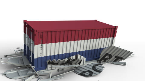 Container with EXPORT text being crashed with container with flag of Netherlands Live Action