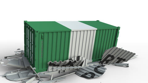 Container with flag of Nigeria breaking container with EXPORT text. Conceptual Live Action