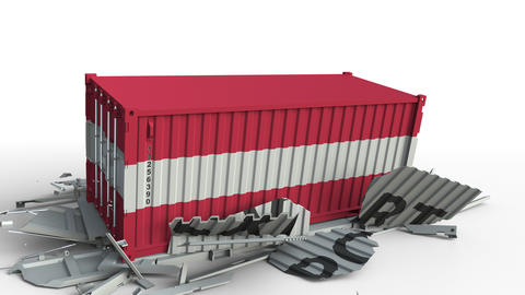Cargo container with flag of Austria breaks container with EXPORT text Live Action