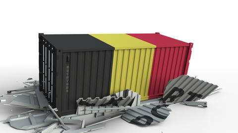 Cargo container with flag of Belgium breaks container with EXPORT text Live Action