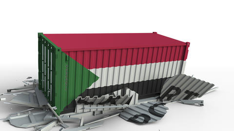 Container with flag of Sudan breaking container with EXPORT text. Conceptual 3D Footage