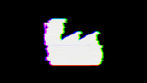 From the Glitch effect arises industry factory symbol. Then the TV turns off. Alpha channel Animation
