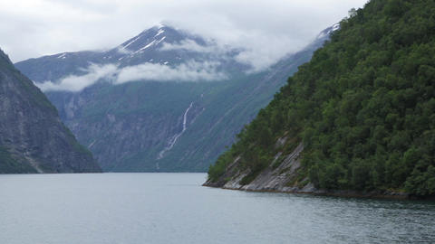 View from the ferry on the fjord in Norway Live Action
