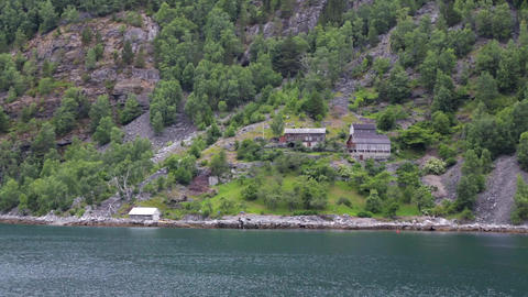 Traditional Norwegian village houses near the sea Live Action