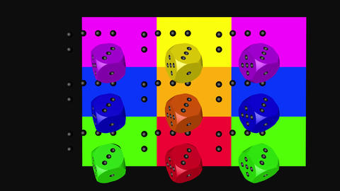 Rainbow Color Dice Loop Moving, 3D Rendering 4K Animation