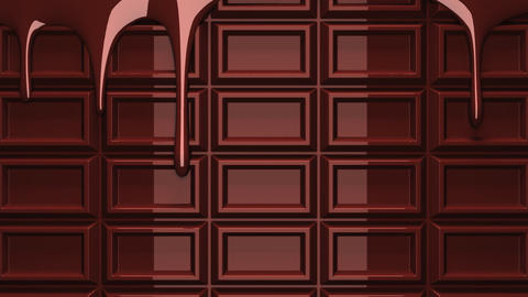 Melting chocolate on chocolate bar Animation