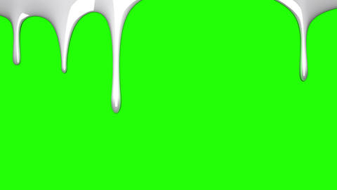 White liquid on green chroma key Animation