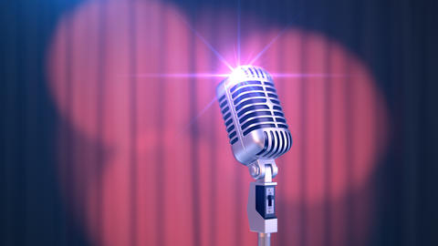 Beautiful Red Curtain with Rotating Spotlights and Vintage Microphone Animation