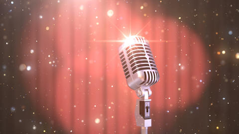 Karaoke Background with a Red Curtain, Spotlights and Retro Microphone Animation
