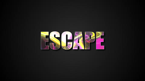 Letters of bright shiny Escape text with plasma effect, 3d rendering background Live Action
