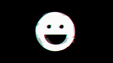 From the Glitch effect arises laugh symbol. Then the TV turns off. Alpha channel Premultiplied - Animation