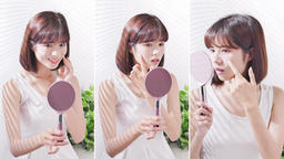 Young asian woman look mirror Live影片