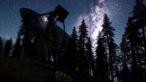 astronomical observatory under the night sky stars. hyperlapse Live Action