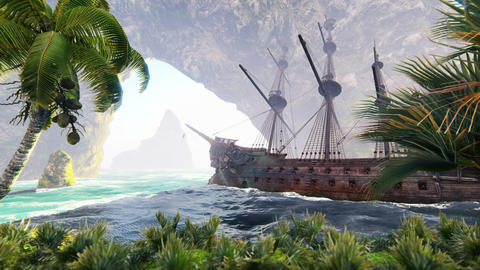 A large medieval ship at sea on a Sunny day near ancient rocks. An ancient abandoned medieval ship Animation
