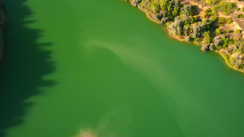 drone flies over green water GIF
