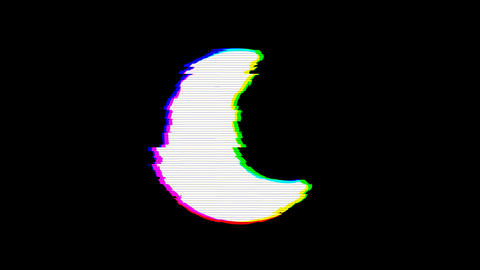 From the Glitch effect arises moon symbol. Then the TV turns off. Alpha channel Premultiplied - Animation