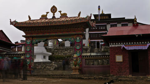 Time-lapse at the entrance to Tengboche Monastery in Nepal Footage