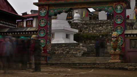 Panning shot of Time-lapse at the entrance to Tengboche Monastery in Nepal Footage