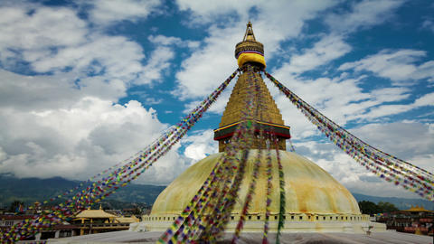Time-lapse of the top of Boudhanath Stupa in Boudha, Nepal Footage