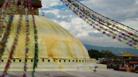 Time-lapse of the top of Boudhanath Stupa in Boudha, Nepal. Cropped Footage