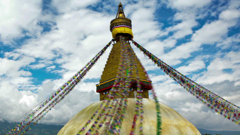 Panning shot of Time-lapse of Boudhanath Stupa in Boudha, Nepal Footage
