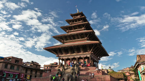 Time-lapse of Nyatapola temple in Bhaktapur, Nepal Footage