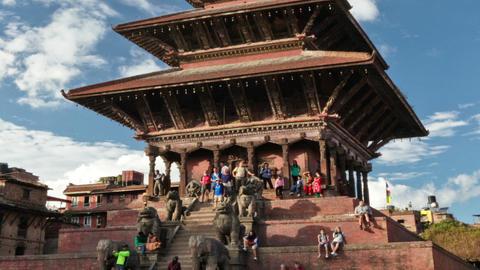 Panning shot of Time-lapse of Nyatapola temple in Bhaktapur, Nepal Footage