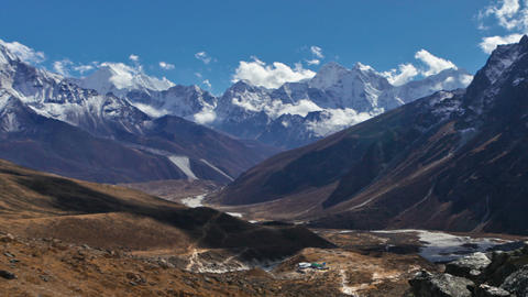 Panning shot of Time-lapse of clouds passing over a Himalayan valley Footage