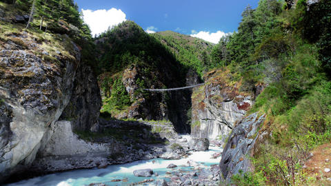 Time-lapse of a river gorge in a Himalayan valley Footage