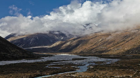 Time-lapse of the valley floor in the Himalaya in Nepal Footage