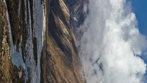 Vertical shot of Time-lapse of the valley floor in the Himalaya in Nepal Footage