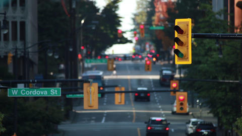 Static shot of traffic lights on Cordova street in Vancouver Footage