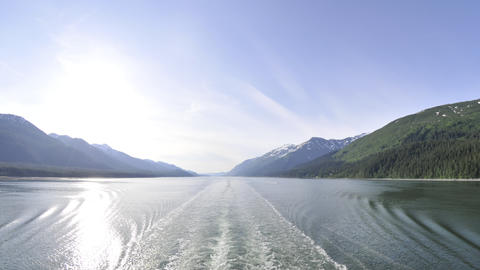 Time lapse of the Inside Passage from behind a boat in Alaska Footage