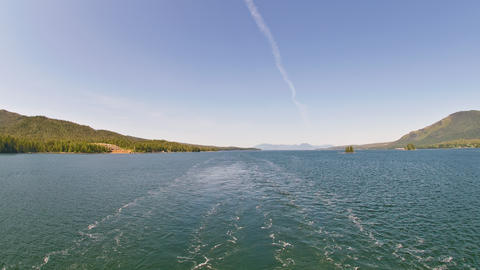 Time-lapse from the back of a cruise ship going up a channel near Ketchikan, Ala Footage