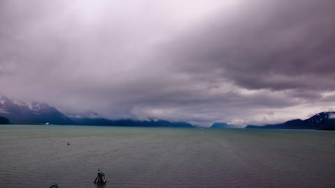 Time-lapse of storm clouds moving over the Gulf of Alaska Footage