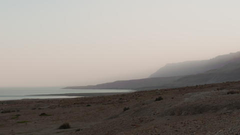 Time lapse of fog on the banks of the Sea of Galilee Footage