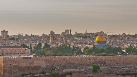 Time-lapse of the Dome of the Rock from the Mount of Olives Footage