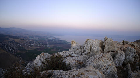 View of the sea of Galilee from Mount Arbel Footage