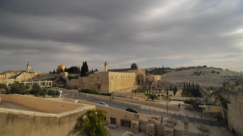 Low-angle time lapse of street below Dome of the Rock Footage