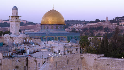 Close up time lapse of the Dome of the Rock as night falls Footage