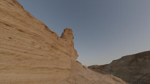 Shot of a tracking time-lapse of rock formations in Israel Footage