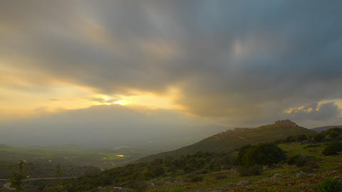 Evening sunset time-lapse in the hills near Nimrod, Israel Footage