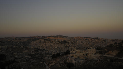 Sunset from behind shot of Jerusalem Footage