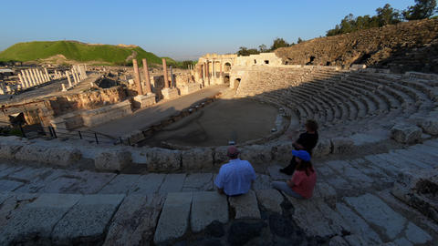 Time lapse of tour groups in an ancient Roman amphitheater Footage