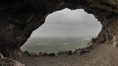 Time-lapse looking out of a cave in Israel Footage