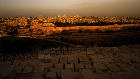 Sunrise time-lapse from the Mount of Olives overlooking the Dome of the Rock Footage