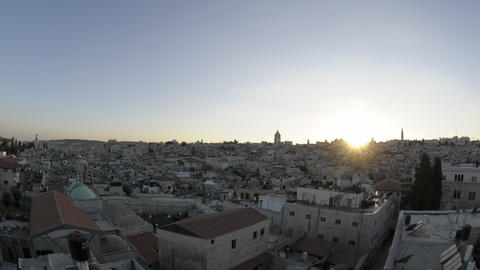 Time lapse of night falling over Jerusalem rooftops Footage
