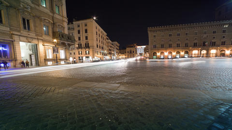 Heavy traffic in a city square in Rome, caught on time-lapse Footage