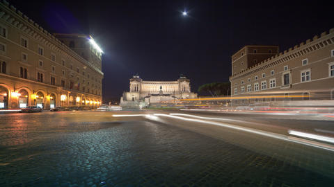 Heavy traffic in the square by the VIttoriano in Rome, caught on time-lapse Footage